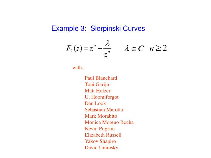 Example 3:  Sierpinski Curves
