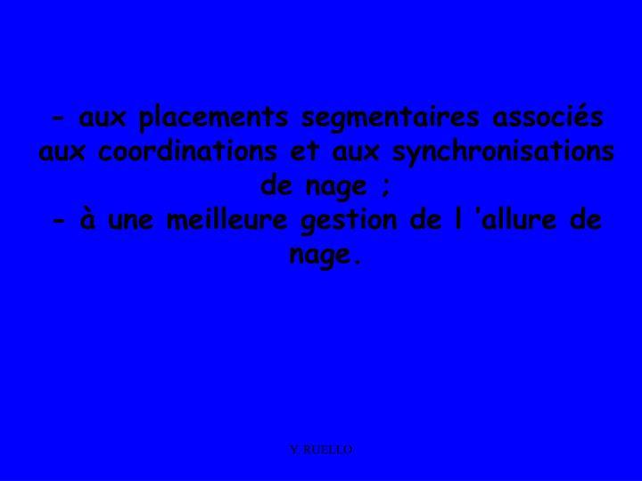 - aux placements segmentaires associés aux coordinations et aux synchronisations de nage ;