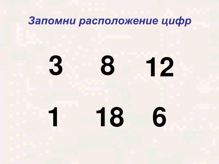 Запомни расположение цифр