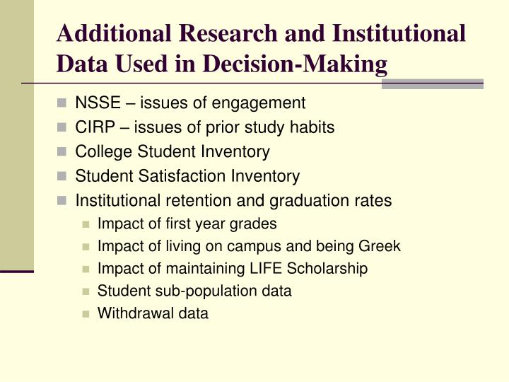 Additional Research and Institutional Data Used in Decision-Making