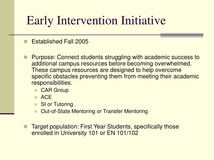 Early Intervention Initiative