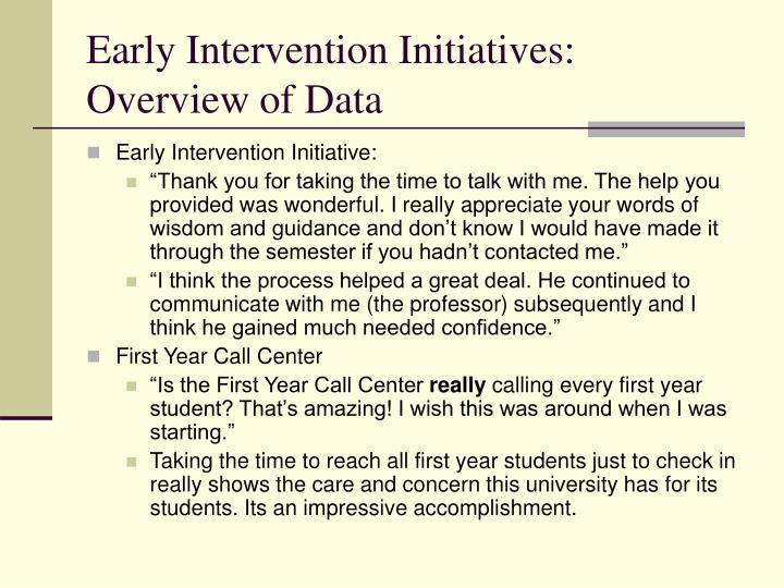 Early Intervention Initiatives: