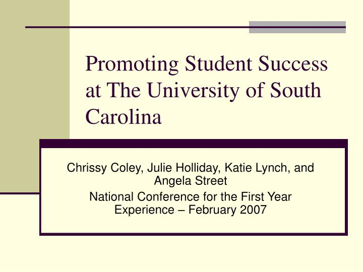 Promoting student success at the university of south carolina