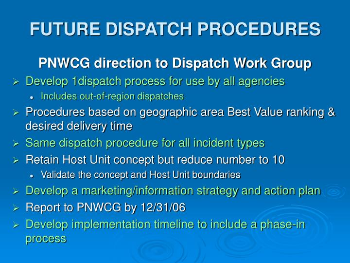 FUTURE DISPATCH PROCEDURES
