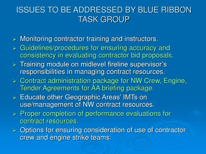 ISSUES TO BE ADDRESSED BY BLUE RIBBON TASK GROUP