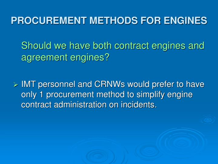 PROCUREMENT METHODS FOR ENGINES