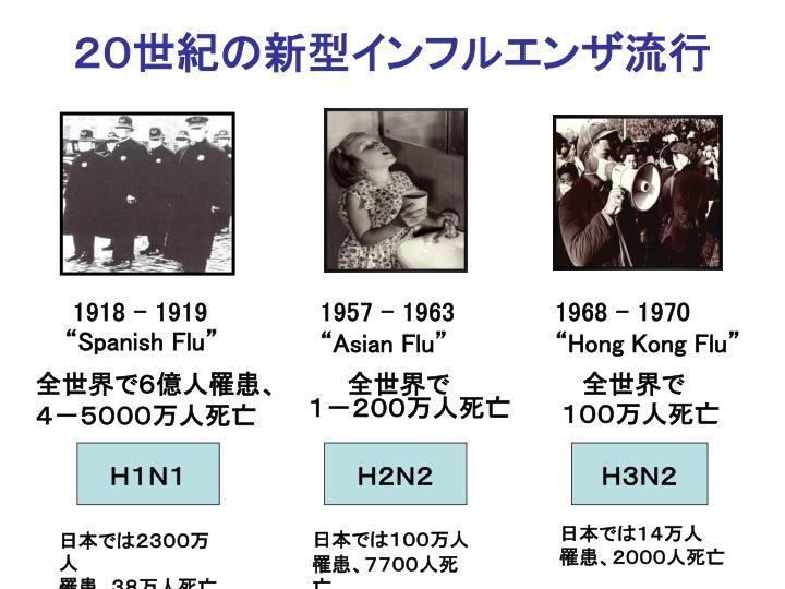 20世紀の新型インフルエンザ流行