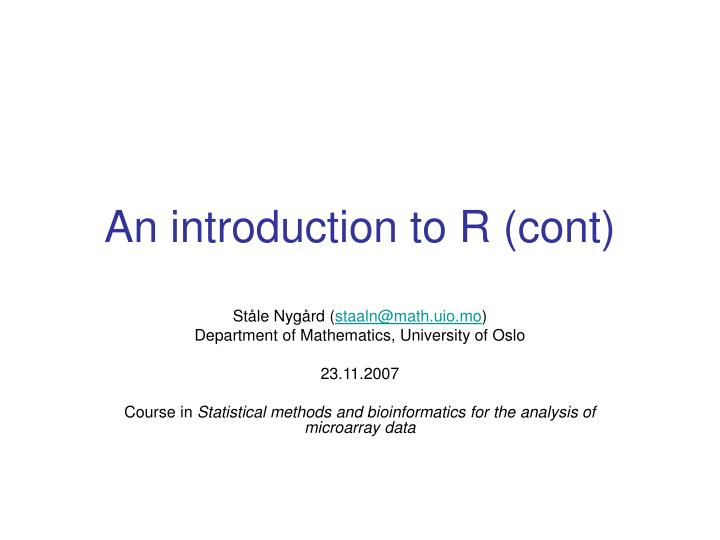 An introduction to r cont