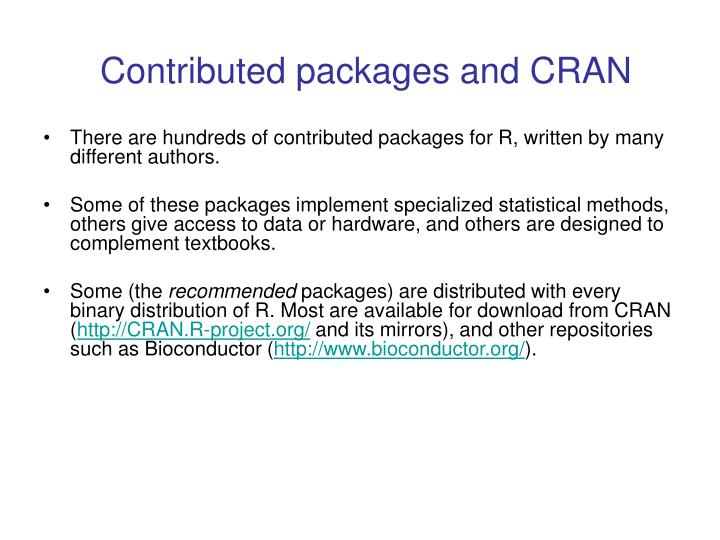 Contributed packages and cran