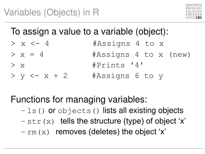 Variables (Objects) in R