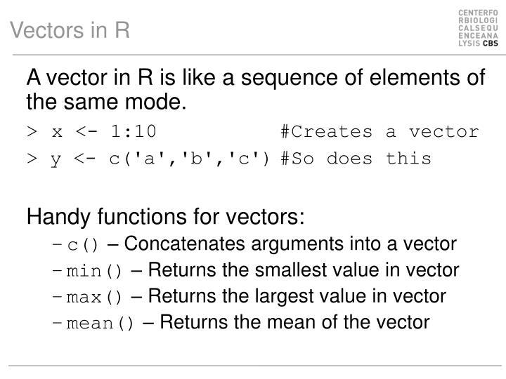Vectors in R