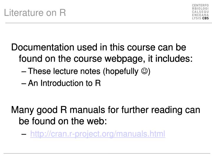 Literature on R
