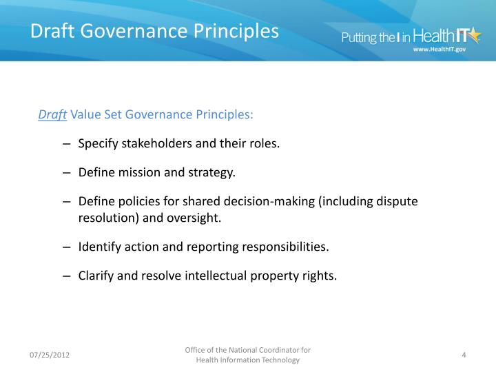 Draft Governance Principles
