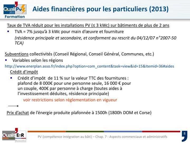 Aides financières pour les particuliers (2013)