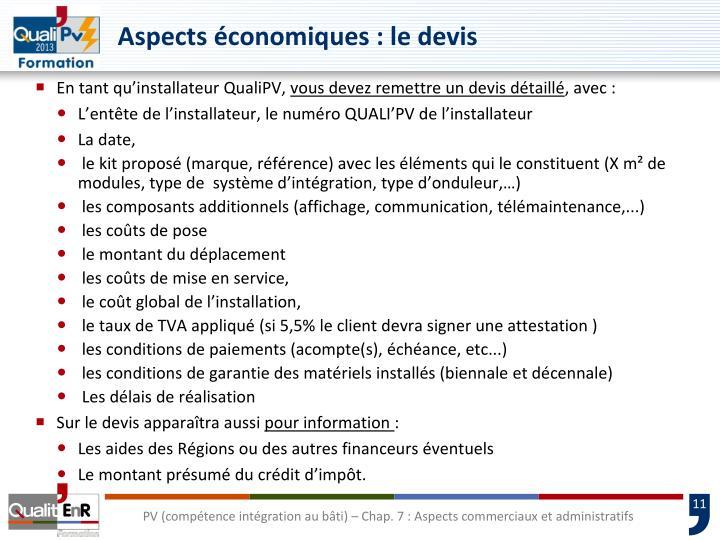 Aspects économiques : le devis
