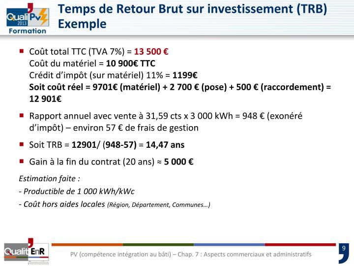 Temps de Retour Brut sur investissement (TRB)