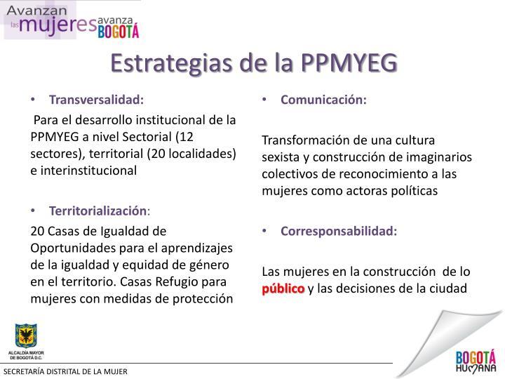 Estrategias de la PPMYEG