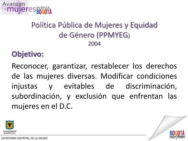 Política Pública de Mujeres y Equidad