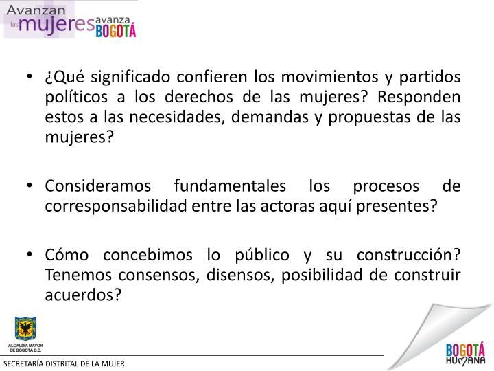 ¿Qué significado confieren los movimientos y partidos políticos a los derechos de las mujeres? Responden estos a las necesidades, demandas y propuestas de las mujeres?