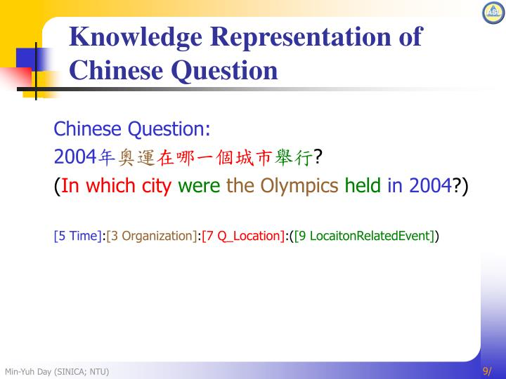 Knowledge Representation of Chinese Question