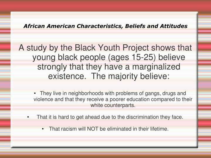 African American Characteristics, Beliefs and Attitudes