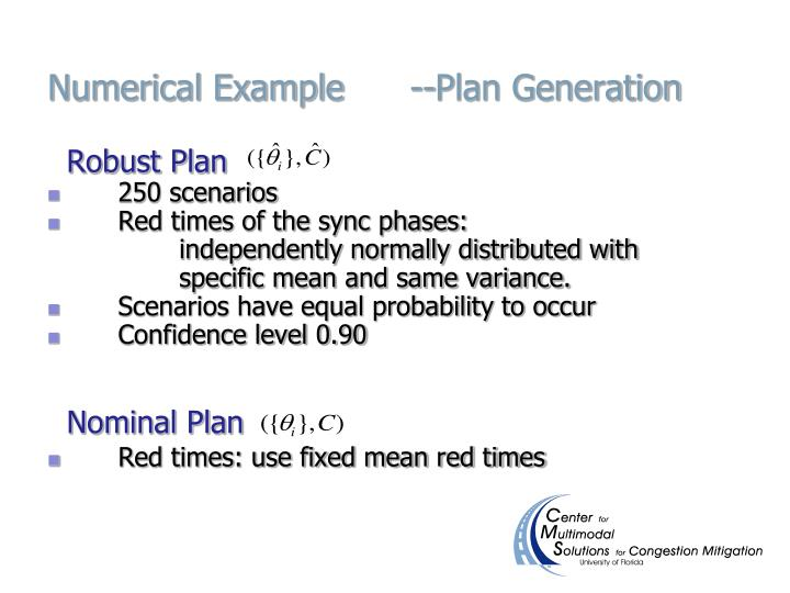 Numerical Example      --Plan Generation