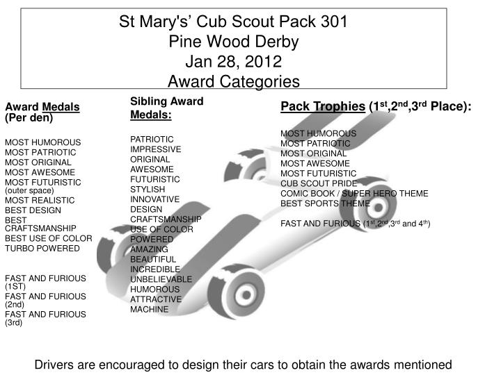 St mary s cub scout pack 301 pine wood derby jan 28 2012 award categories
