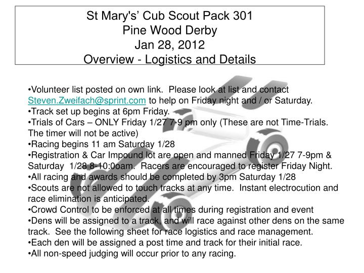 St mary s cub scout pack 301 pine wood derby jan 28 2012 overview logistics and details
