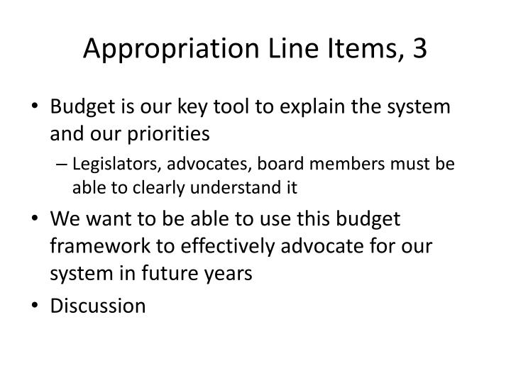 Appropriation Line Items, 3