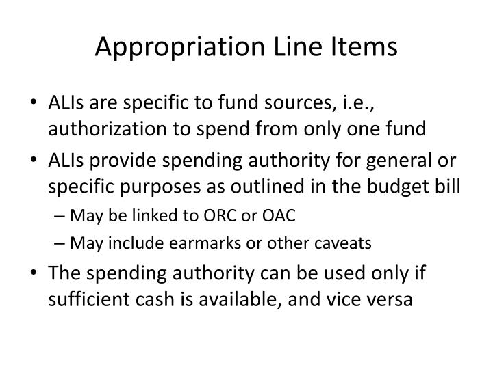 Appropriation Line Items