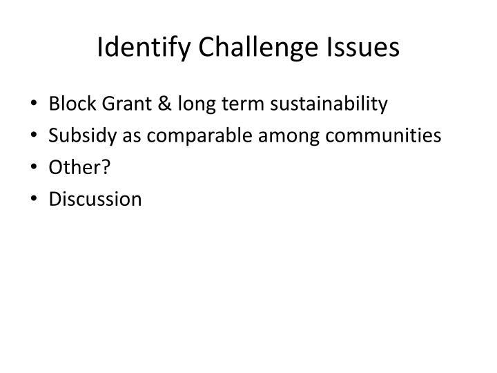 Identify Challenge Issues