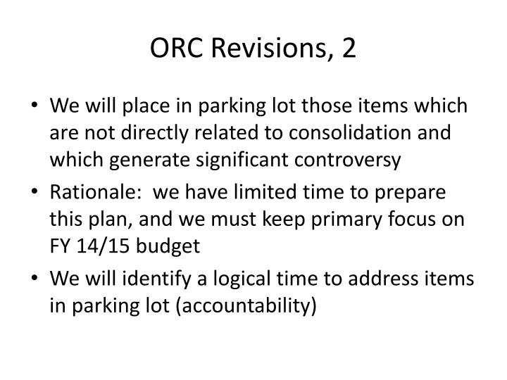 ORC Revisions, 2