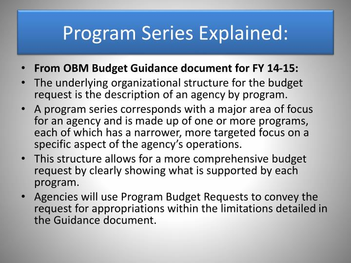 Program Series Explained: