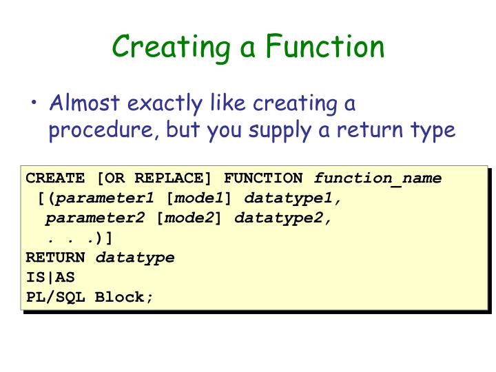 Creating a Function