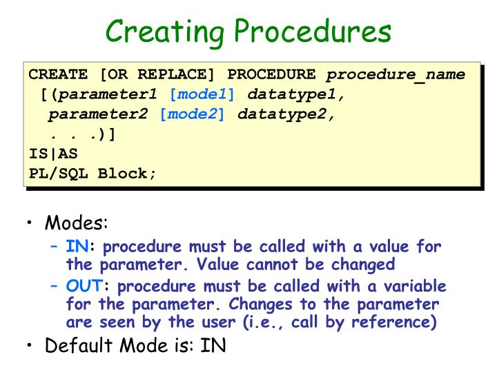 Creating Procedures
