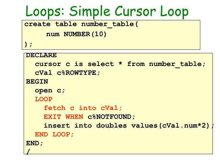Loops: Simple Cursor Loop