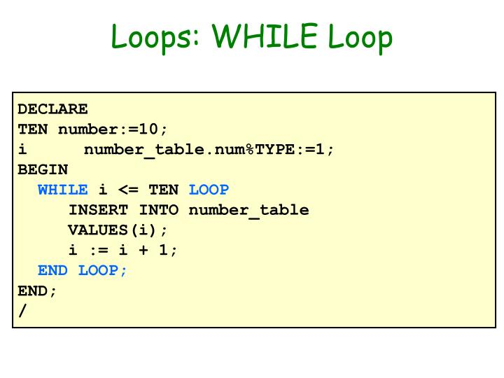 Loops: WHILE Loop