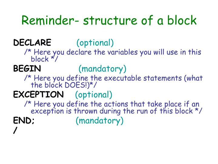 Reminder- structure of a block