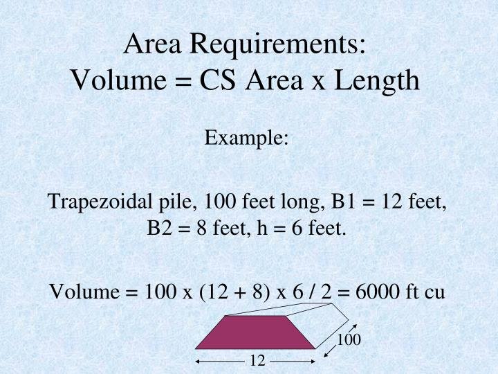 Area Requirements: