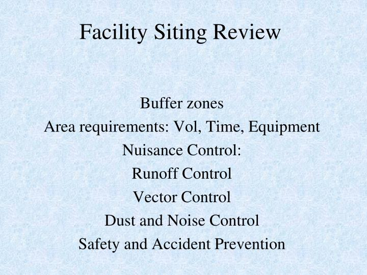 Facility Siting Review