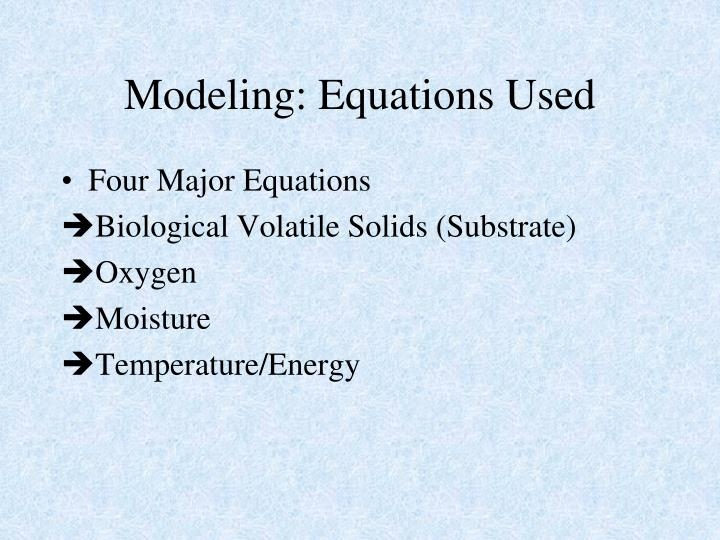 Modeling: Equations Used