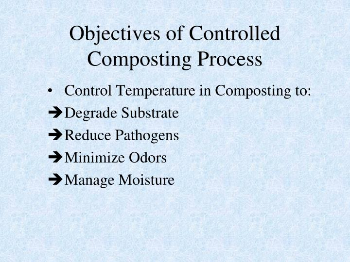 Objectives of Controlled Composting Process