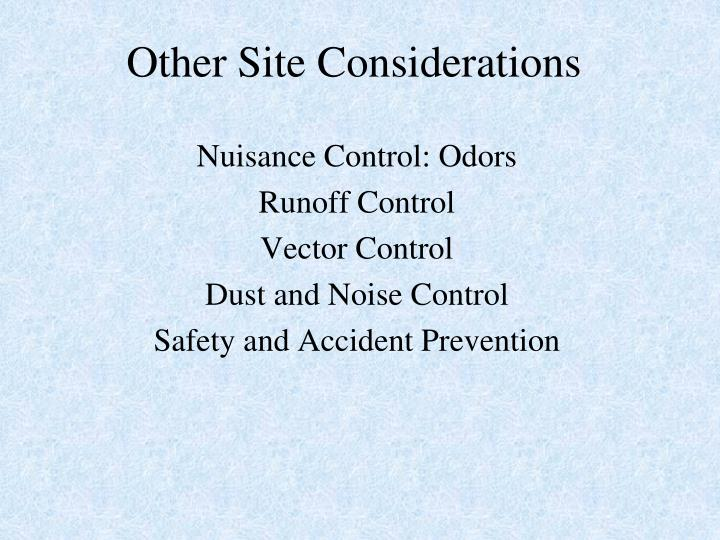 Other Site Considerations
