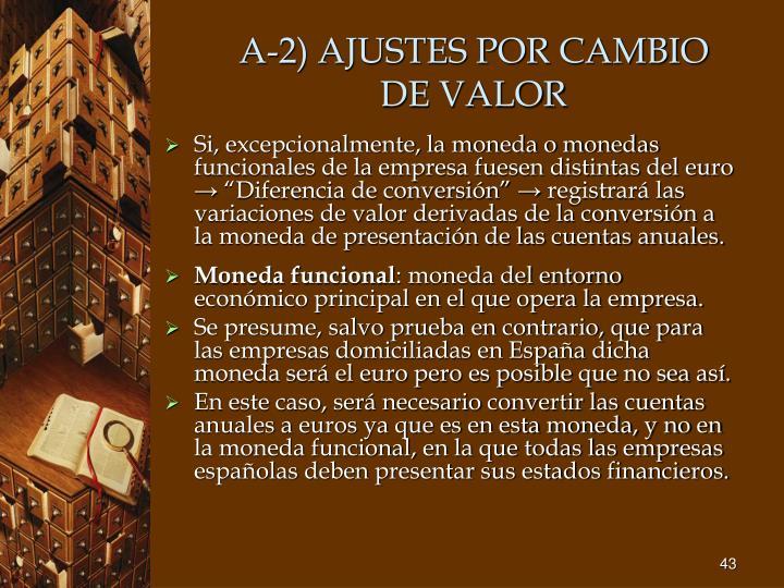 A-2) AJUSTES POR CAMBIO DE VALOR