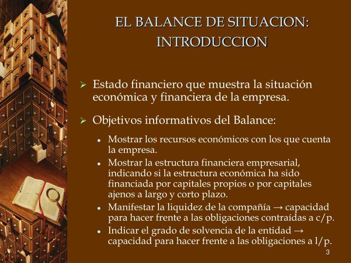 EL BALANCE DE SITUACION: INTRODUCCION