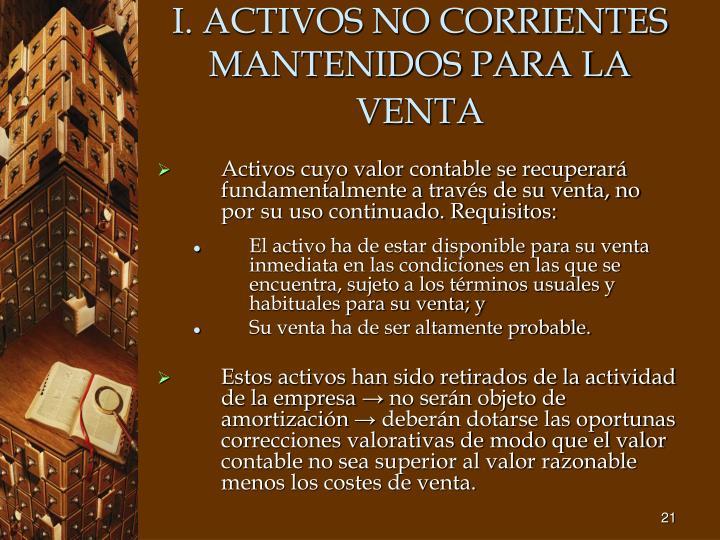 I. ACTIVOS NO CORRIENTES MANTENIDOS PARA LA VENTA