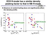ech h mode has a similar density peaking factor to that in nb h mode
