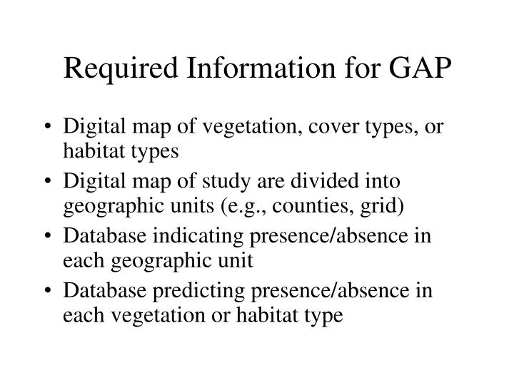 Required Information for GAP