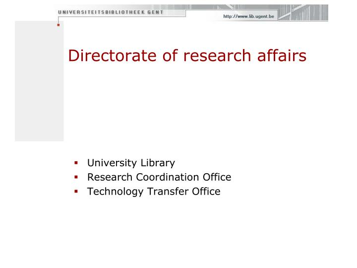 Directorate of research affairs
