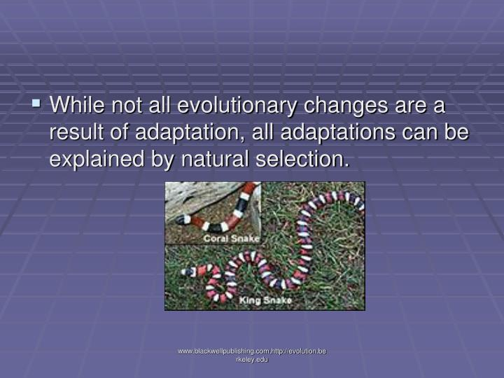 While not all evolutionary changes are a result of adaptation, all adaptations can be explained by natural selection.